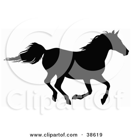 Clipart Illustration of a Black Silhouette Of A Horse Galloping by dero