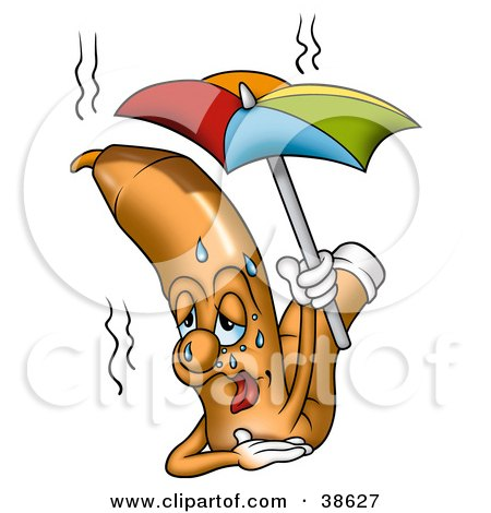 Clipart Illustration of a Sweaty Orange Marker Dripping Under An Umbrella On A Hot Summer Day by dero