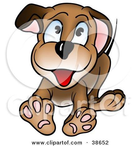 Clipart Illustration of a Friendly Blue Eyed Puppy Dog Running Forward by dero