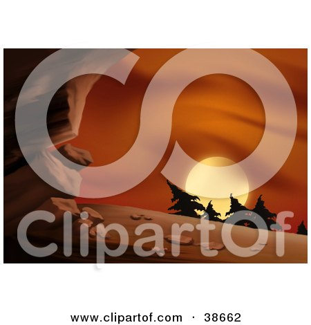 Clipart Illustration of a Red Sunset Silhouetting Trees On A Hill Near A Cave by dero