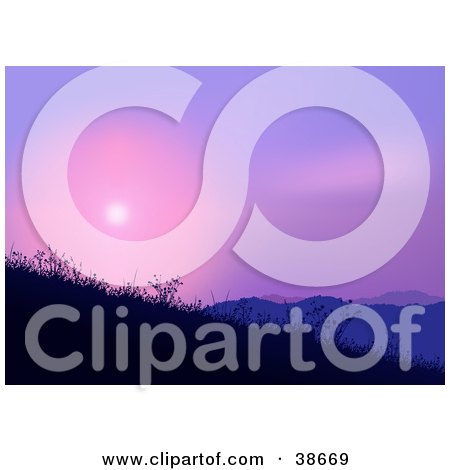 Clipart Illustration of a Pink And Purple Sunset Over Hills With Weeds by dero