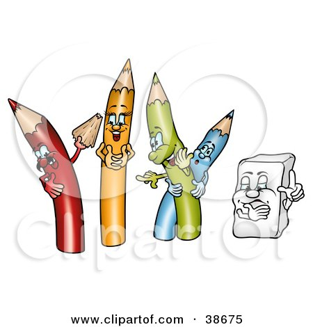 Clipart Illustration of a Yellow, Green And Blue Colored Pencils Laughing As A Red One Shows Off A Shaving by dero