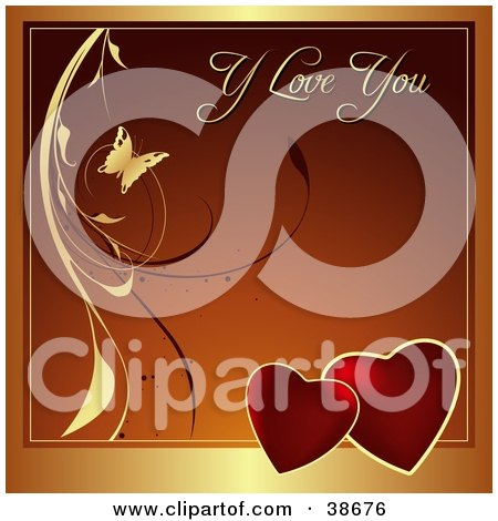 Clipart Illustration of a Gold, Red And Orange Valentine Greeting With Butterflies, Hearts And Vines by dero