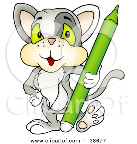 Clipart Illustration of a Gray Cat Standing With A Green Marker by dero