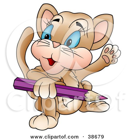 Clipart Illustration of a Friendly Cat Holding A Purple Color Pencil And Waving by dero