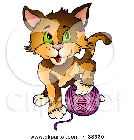 Clipart Illustration of a Brown Cat With Green Eyes, Playing With A Ball Of Purple Yarn by dero