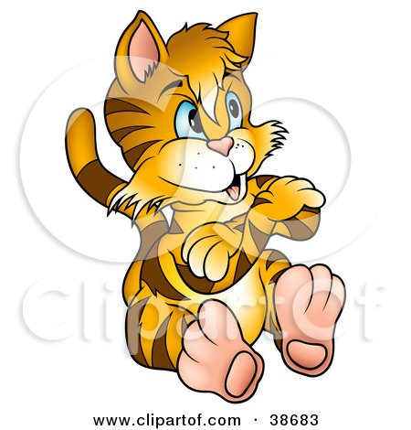 Clipart Illustration of a Stubborn Tiger Striped Kitty Cat Sitting With His Arms Crossed by dero