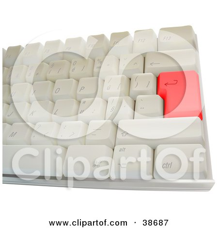 Clipart Illustration of a Computer Keyboard With A Red Enter Key by dero