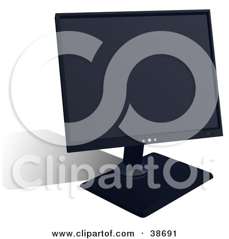Clipart Illustration of a Flat LCD Computer Monitor by dero