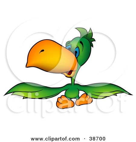 Clipart Illustration of a Sad, Blue Eyed, Green Parrot Spanning His Wings by dero