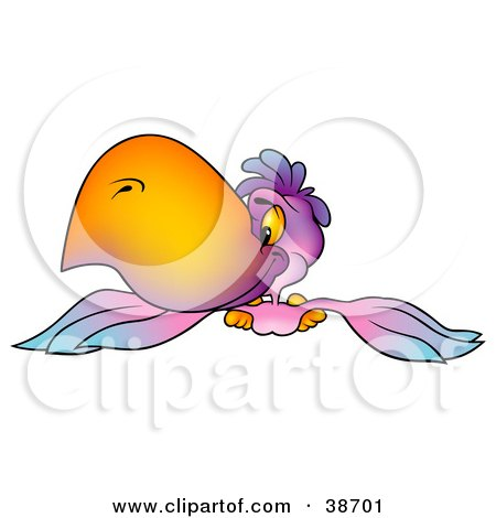 Clipart Illustration of a Purple Parrot With A Big Orange Beak, Flying Forward by dero