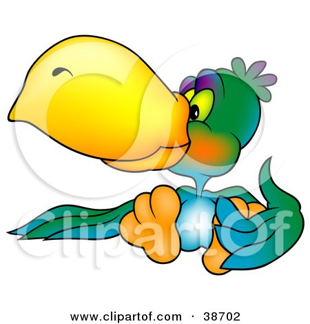 Clipart Illustration of a Vibrantly Colored Parrot With A Yellow Beak by dero