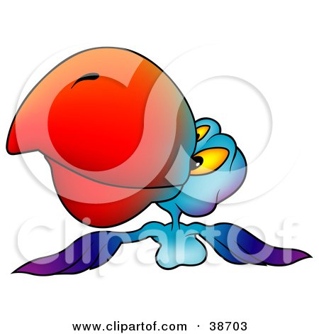 Clipart Illustration of a Blue And Purple Parrot With A Red Beak, Flying Forward by dero