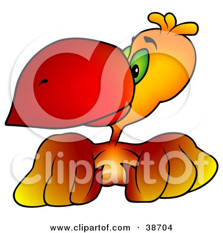 Clipart Illustration of a Curious Green Eyed Orange Parrot With A Red Beak by dero