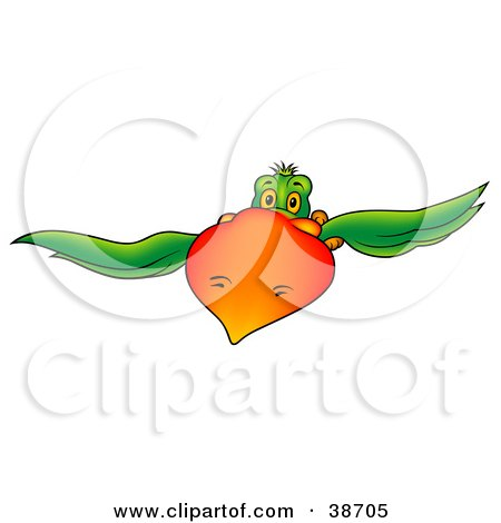 Clipart Illustration of a Green Parrot With A Big Orange Beak Flying Forward by dero