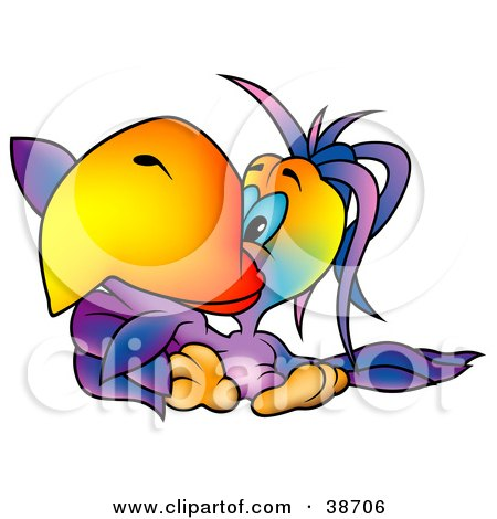 Clipart Illustration of a Blue Eyed Purple Parrot With A Big Orange Beak, Pointing To The Left by dero