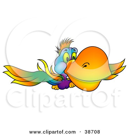 Clipart Illustration of a Colorful Parrot With A Yellow Beak, Flying Forward by dero