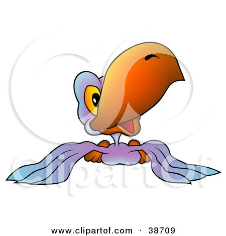 Clipart Illustration of a Friendly Purple Parrot With An Orange Beak by dero