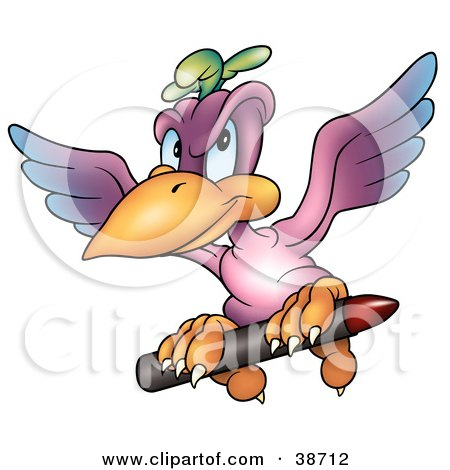 Clipart Illustration of a Purple Parrot Flying With A Red Crayon by dero