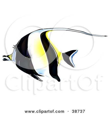Clipart Illustration of a Black, White And Yellow Moorish Idol (Zanclus Cornutus) In Profile by dero