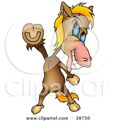 Clipart Illustration of a Brown Horse Doing The Travolta Disco Dance Move by dero