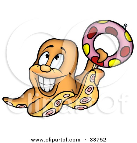 Clipart Illustration of a Grinning Orange Octopus Holding Up A Life Preserver by dero