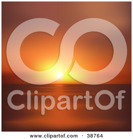 Clipart Illustration of a Yellow And Orange Coastal Sunset Over The Sea by dero
