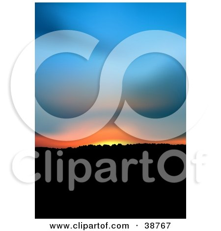 Clipart Illustration of a Blue, Orange And Yellow Sunset Over Hills by dero