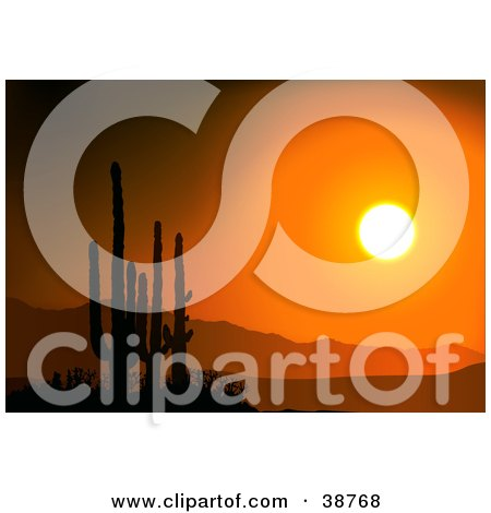 Clipart Illustration of a Bright Orange Sunset Silhouetting Cactus And Mountains by dero