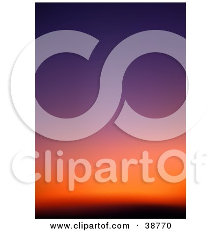 Clipart Illustration of a Gradient Purple, Orange And Red Sunset Sky by dero
