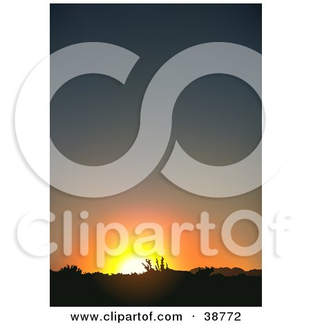 Clipart Illustration of an Orange Sun Setting Behind A Landscape by dero