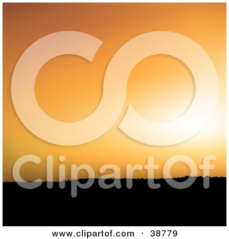 Clipart Illustration of Light In An Orange Sunset Sky Over A Silhouetted Hill by dero
