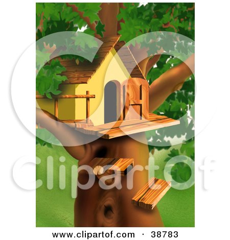 Clipart Illustration of Wood Steps Leading Up To A Treehouse In A Lush Green Tree by dero