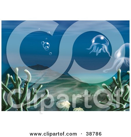 Clipart Illustration of an Underwater Scene Of Aquatic Plants, Shells, Hills, Bubbles And Jellyfish by dero