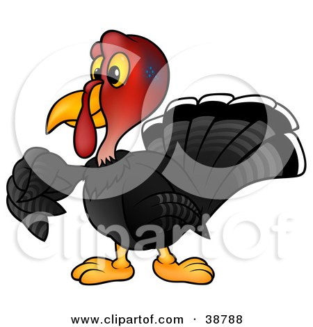 Clipart Illustration of a Black Turkey Bird With A Red Head by dero