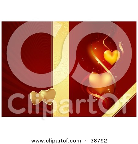 Clipart Illustration of a Golden Floral Ribbon Dividing A Bursting Red Background With Hearts From A Red Background With Orange Hearts And Ribbons by dero
