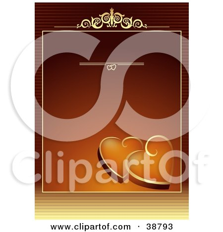 Clipart Illustration of a Gradient Orange Background With Golden Accents And Hearts, And Blank Space For Text by dero