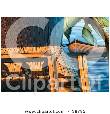 Clipart Illustration of a Fishing Boat Tied To A Boat House Under A Palm Tree by dero