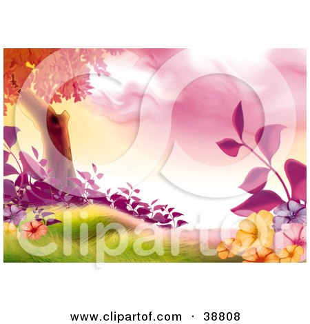 Clipart Illustration of a Tree With Purple, Orange And Pink Flowers And Plants In A Grassy Meadow by dero