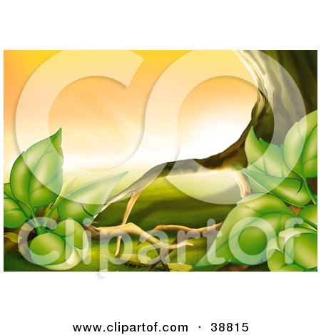 Clipart Illustration of Green Plants Growing Against The Roots Of A Tree by dero