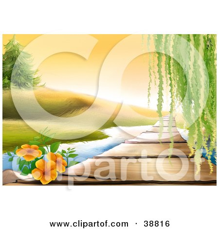 Clipart Illustration of Orange Flowers And Willow Tree Leaves Hanging Down Over A Wooden Path Over A Stream by dero