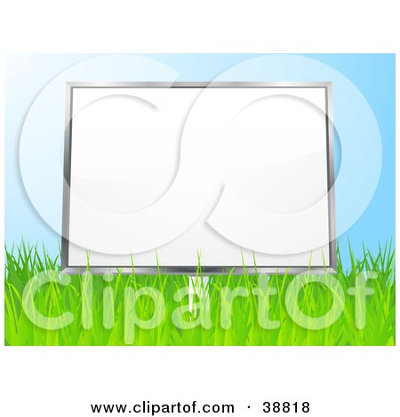 Clipart Illustration of a Blank White Billboard In A Grassy Field, Against A Blue Sky by elaineitalia