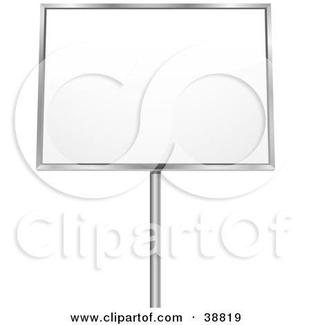 Clipart Illustration of a Blank White Billboard Sign Framed In Chrome by elaineitalia