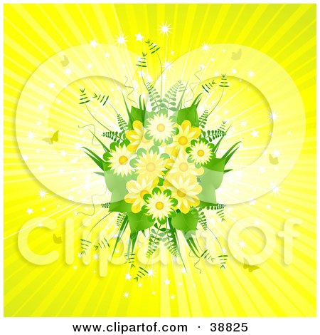 Clipart Illustration of a Beautiful Spring Bouquet Of Yellow Flowers And Ferns On A Bursting Background With Sparkles And Butterflies by elaineitalia