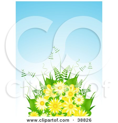 Clipart Illustration of a Yellow Flower Bouquet With Ferns Against A Blue Background by elaineitalia