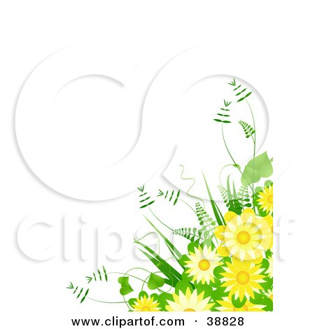 Clipart Illustration of a Fern And Yellow Flower Bouquet Over A White Background by elaineitalia
