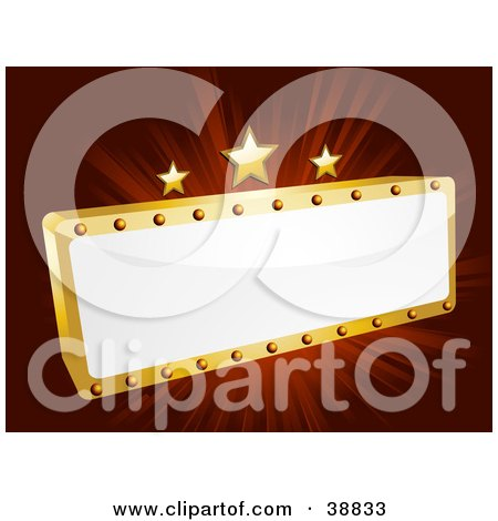 Clipart Illustration of a Blank White And Gold Movie Theater Sign With Three Stars On A Bursting Red Background by elaineitalia