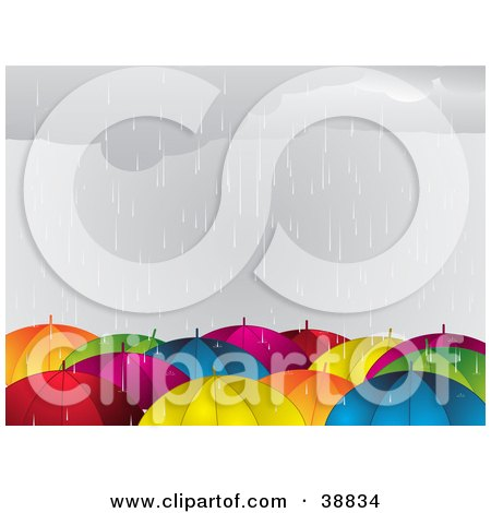 Clipart Illustration of a Crowd Of Colorful Umbrellas In The Rain by elaineitalia