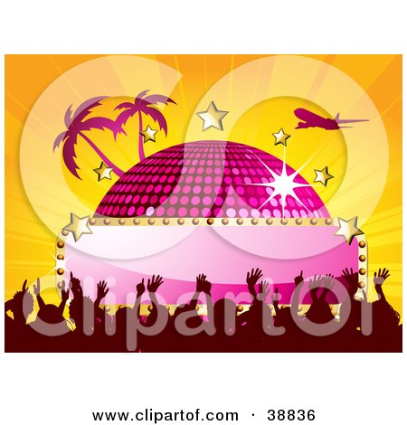 Clipart Illustration of a Plane Flying Over A Pink Disco Ball With A Blank Sign, Stars, Palm Trees And A Crowd, On A Bursting Orange Background by elaineitalia