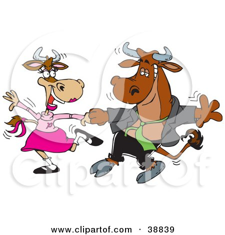 Handsome Young Bull Dancing With A Lady Cow On A Dance Floor Posters, Art Prints